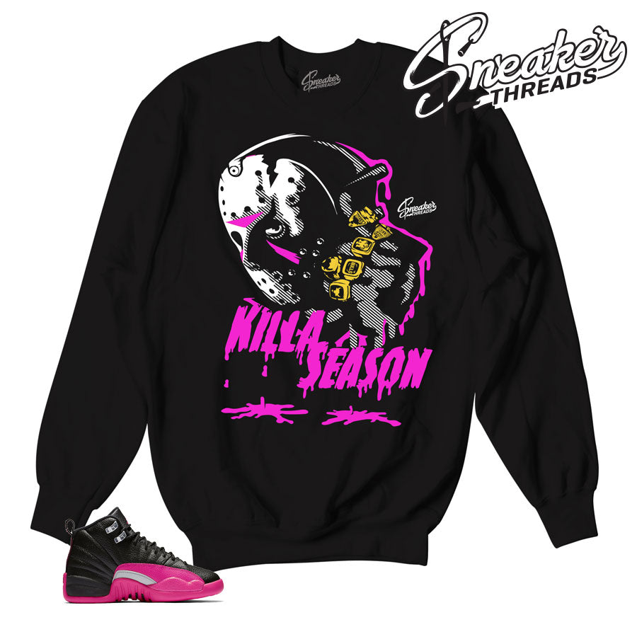 Jordan 12 deadly pink sweaters match retro 12 shoes.