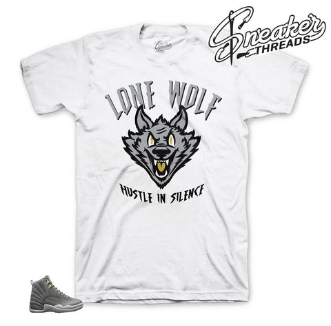 Jordan 12 wolf grey shirts match dark grey 12 shoes.