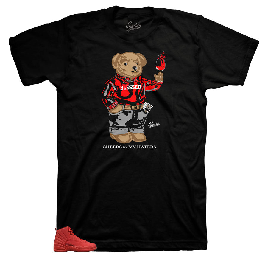 Jordan 12 Gym Red Cheers Bear Shirt