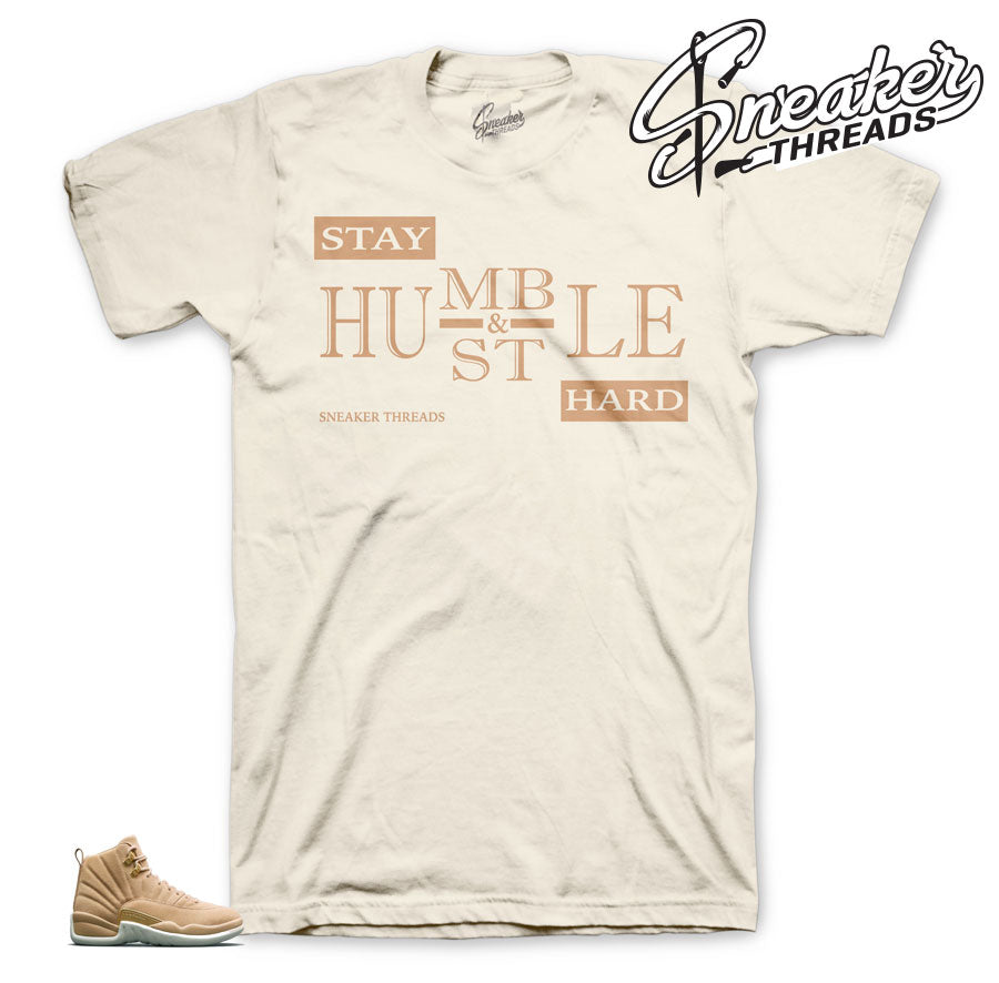 Jordan 12 vachetta tan shirts match  retro 12 sneaker tees.