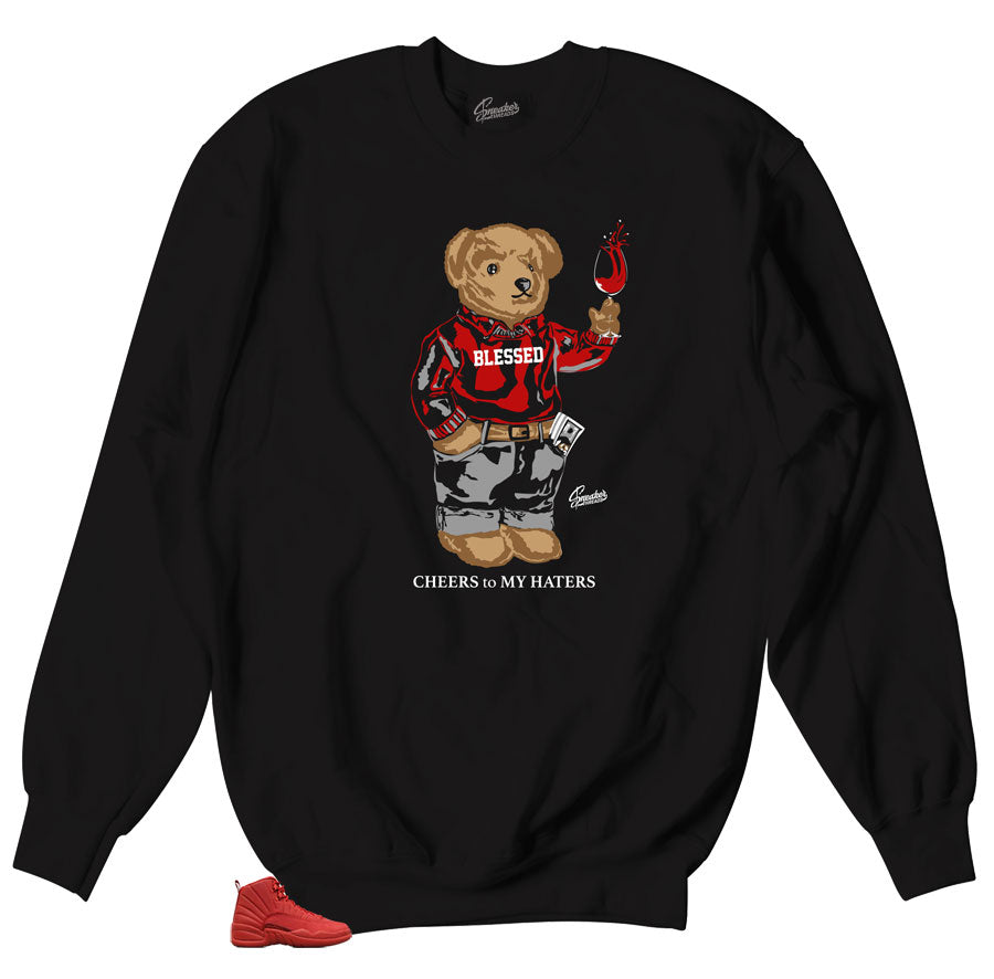 e571979c0f1a38 Jordan 12 Gym Red Cheers Bear Sweater. From  49.99. Retro gym red Jordan 12  tees ...