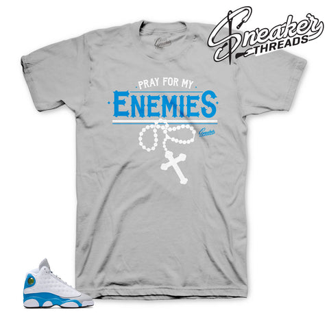 Shirts match Jordan 13 blue italy shoes.