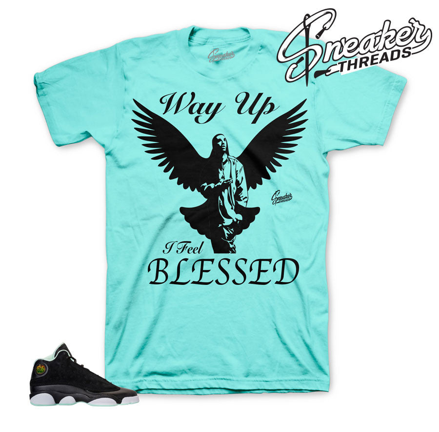 Jordan 13 mint foam shirt match retro 13 mint shoes.