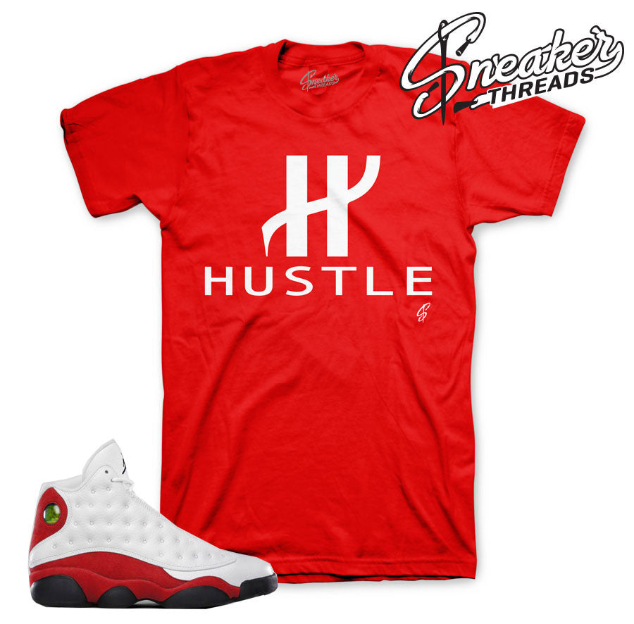 Jordan 13 OG chicago tees match retro 13 cherry red shirts.