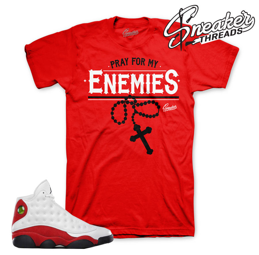 Jordan 13 OG chicago tees match cherry red 13's shirts.