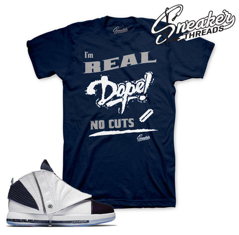 Match Jordan 16 midnight navy shirts retro 16 sneaker tee.