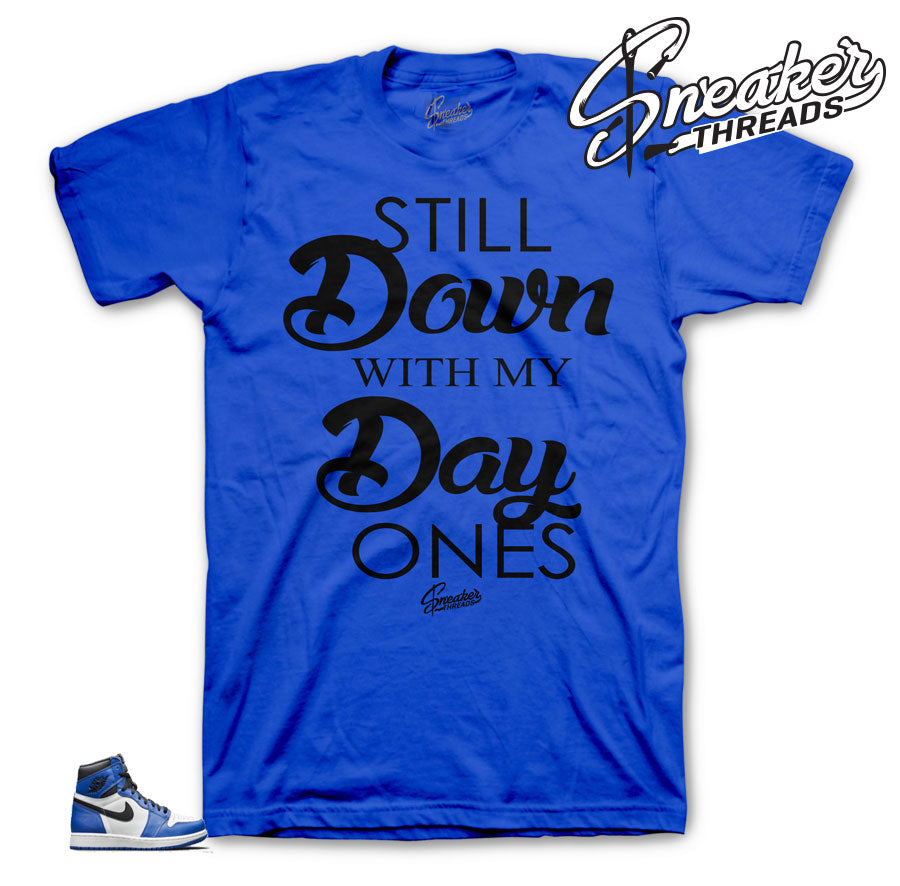Game royal Jordan 1 sneaker tees | Game royal sneaker shirts match.