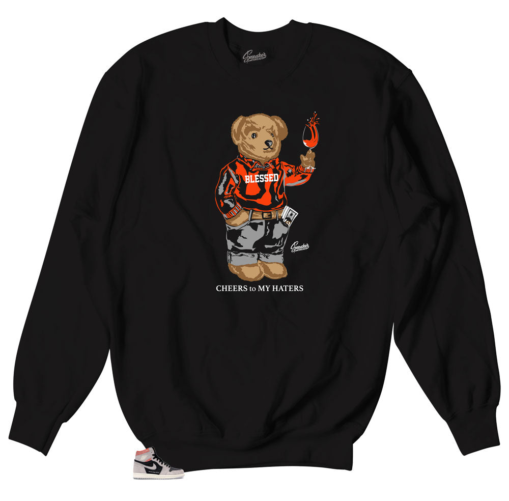 Hyper Crimson Jordan 1s sneaker matches crewneck sweaters made to match Hyper crimson sneakers