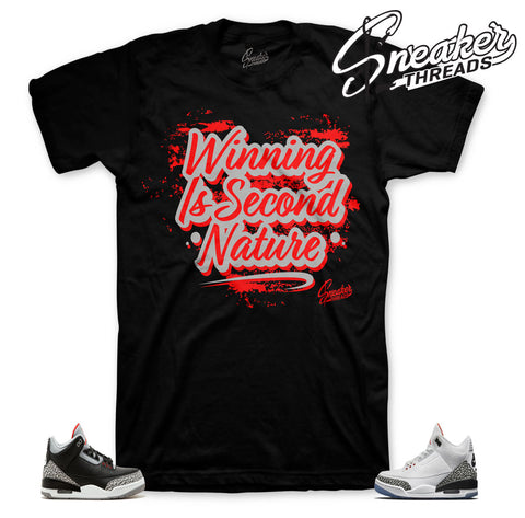 Jordan 3 black cement shirts match retro 3 free throw dunk tee.
