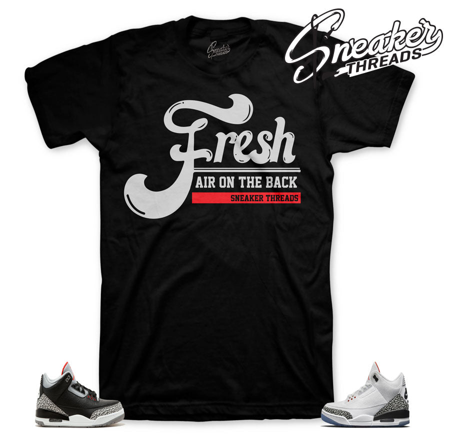 Official matching tee shirts for Jordan 3 black cement | Retro 3 cement