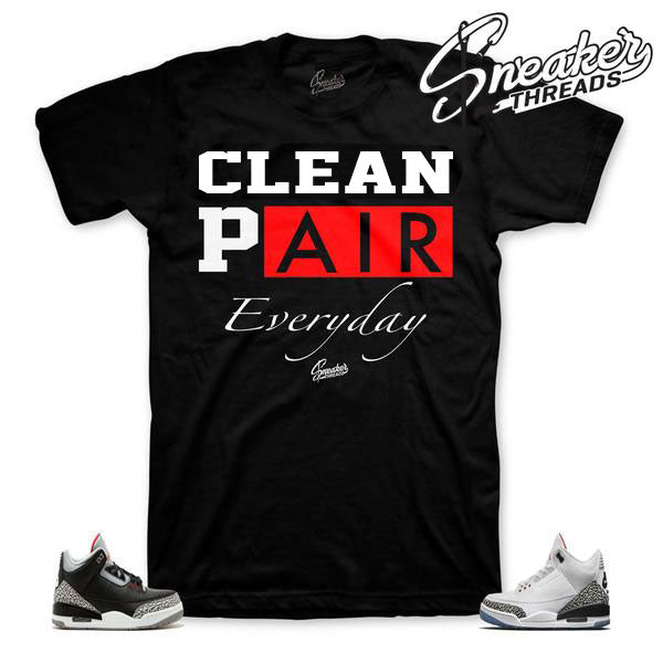 Retro 3 sneaker match shirts shoes | Black cement shirts.
