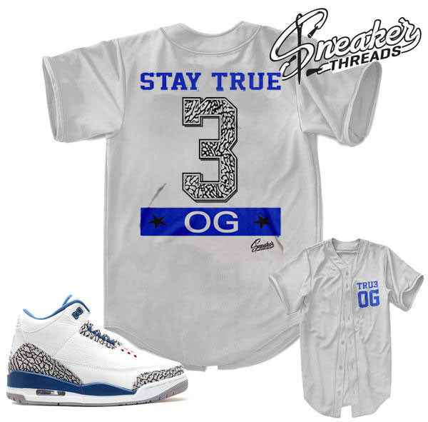 Jordan 3 true blue Og jerseys match retro 3 true blues.
