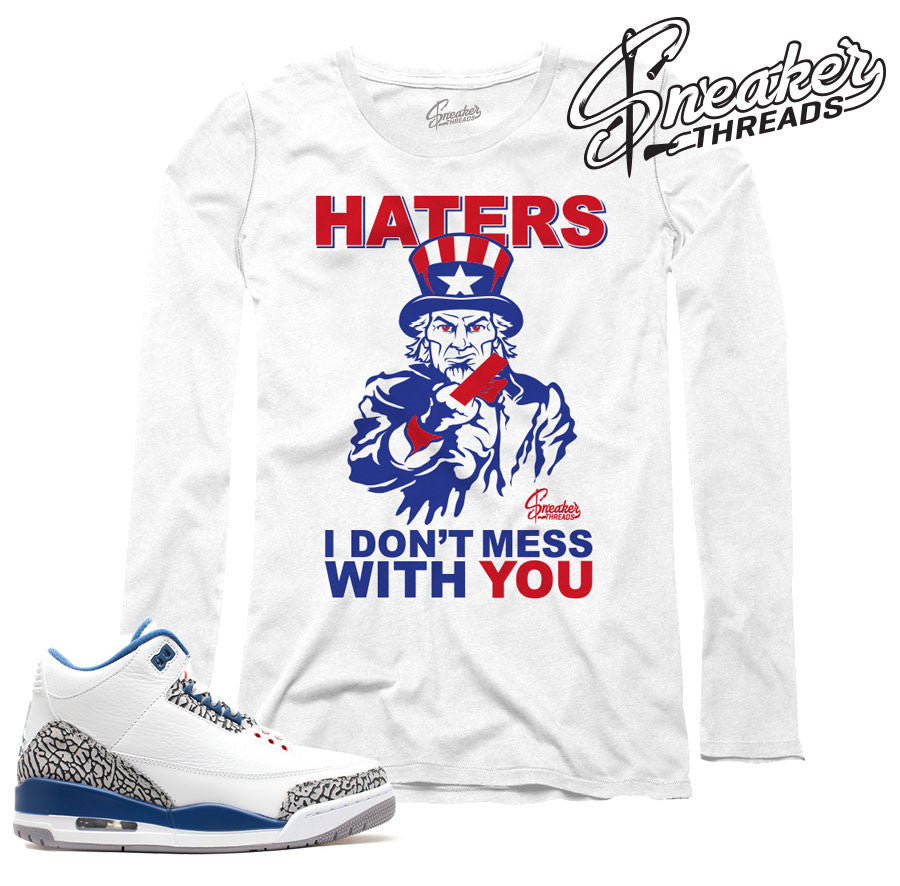 Long sleeve tees match jordan 3 true blue retro 3's.