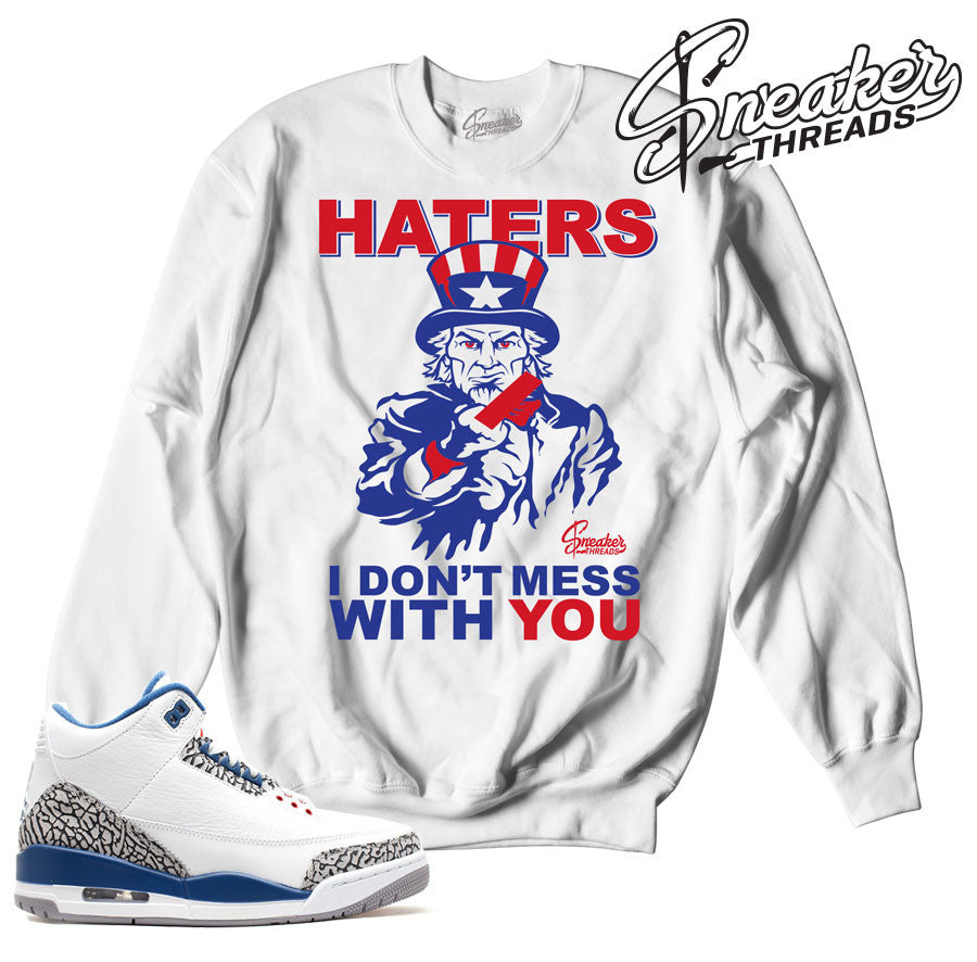 Jordan 3 true blue OG crewnecks match retro 3 sweaters.