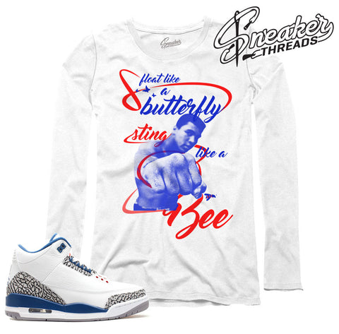 Long sleeve shirts match jordan 3 true blue retro 3's.