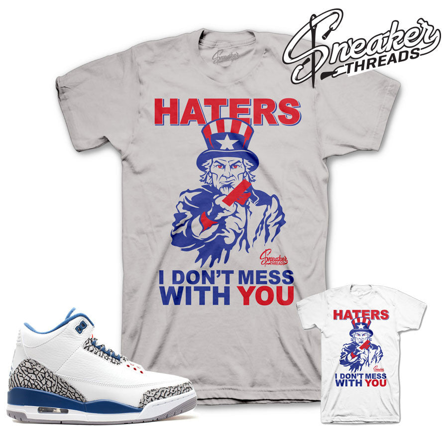 Tees match jordan 3 true blue OG retro 3 shirts.