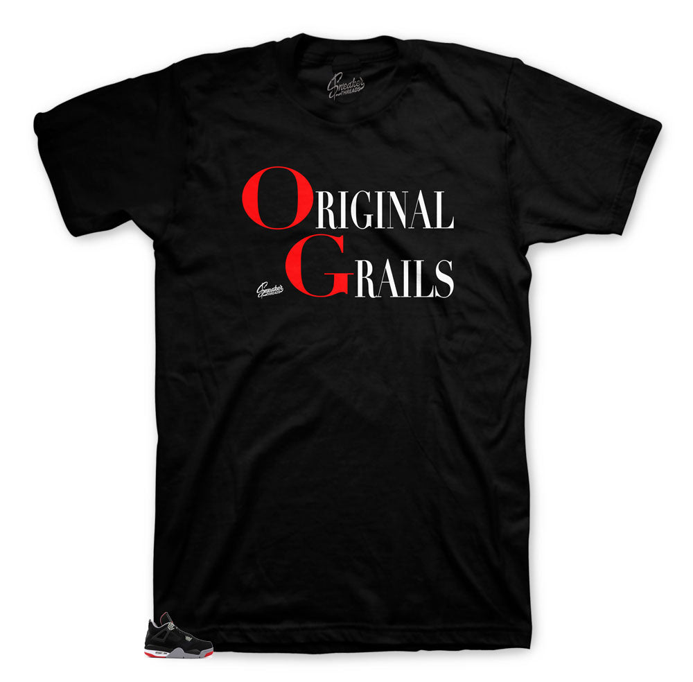 Jordan 4 bred sneaker matching tees and shirts for retro 4.