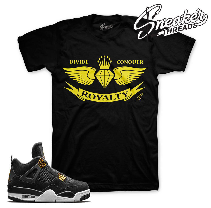Jordan 4 royalty tees match jordan 4's sneakers shirts.