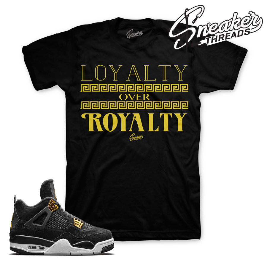 Jordan 4 royalty tees match jordan 4's royalty sneakers.