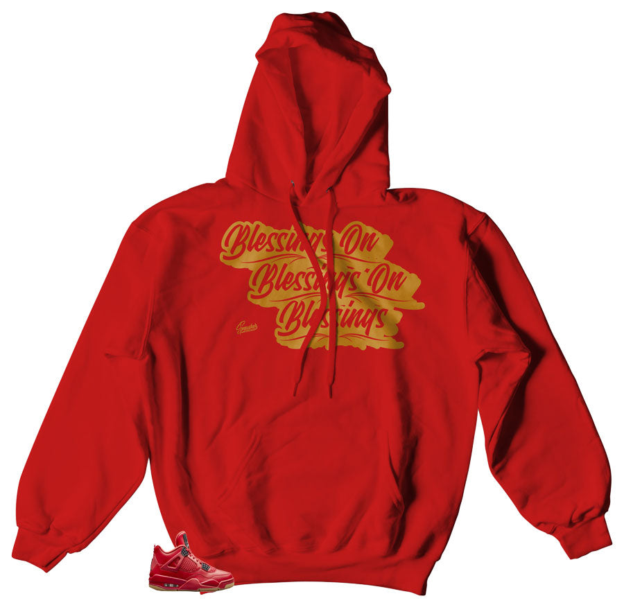Jordan 4 singles day sneakers match Hoody | Fired red 4 hoody match sneakers