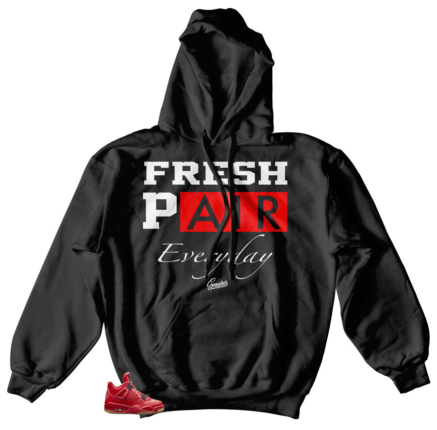Jordan 4 singles day sneakers to match hoody | Fired red 4 shoes to match hoody