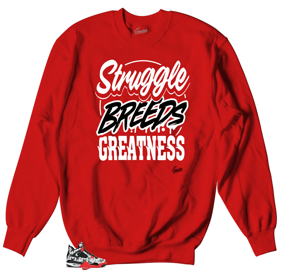 Crewneck sweater collection matching Jordan 4 tattoo sneaker collection