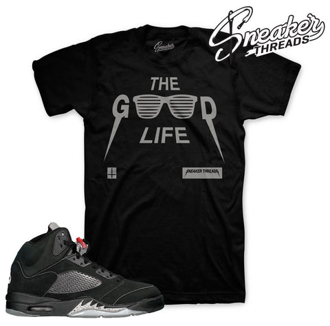 Jordan 5 black metallic tees match retro 5 sneaker match shirts.