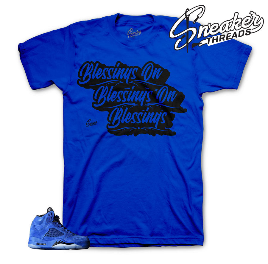 Jordan 5 blue suede shirts match | Official apparel to match.