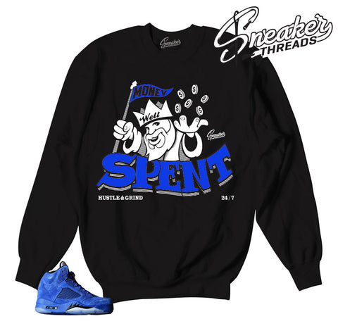 Jordan 5 blue suede sweaters match retro 5 crewnecks.