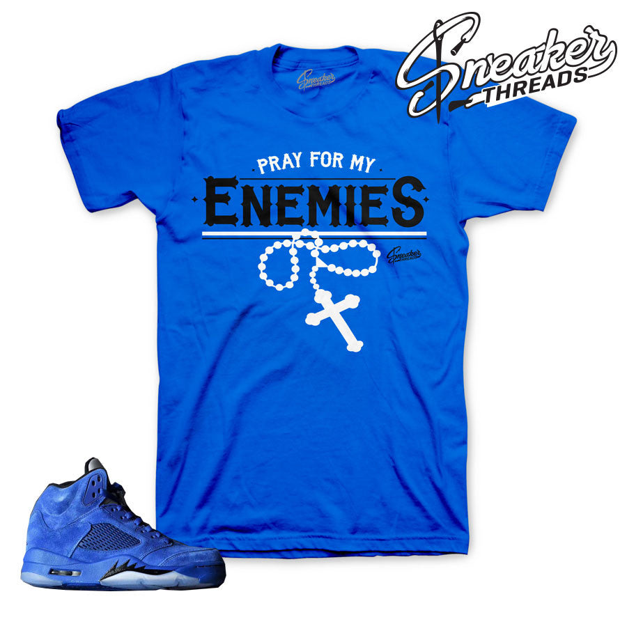 Jordan 5 blue suede tee match retro 5's ice shirts.