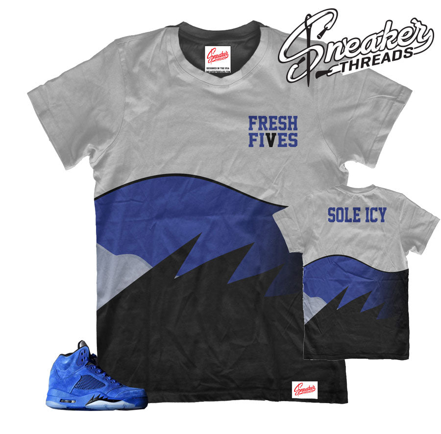 Official Jordan 5 blue suede matching shirts and clothing.