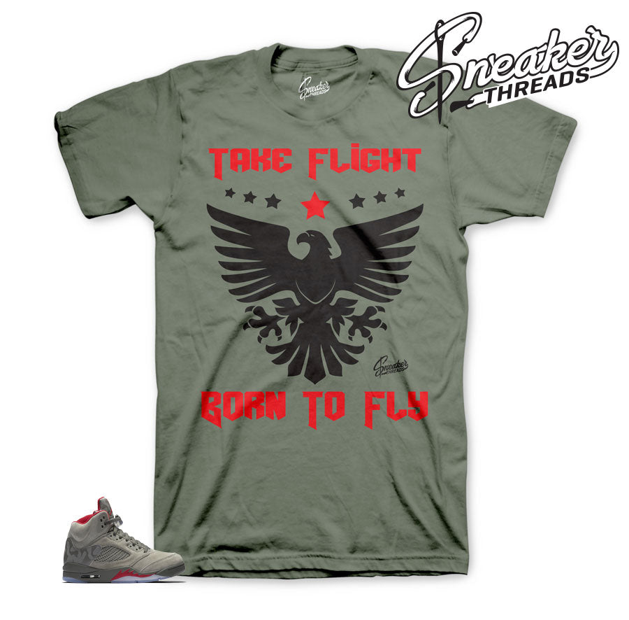Jordan 5 camo tees match retro 5 dark stucco sneaker tees.