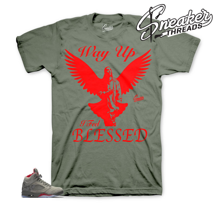 Jordan 5 camo dark stucco tees match retro 5 | Official clothing