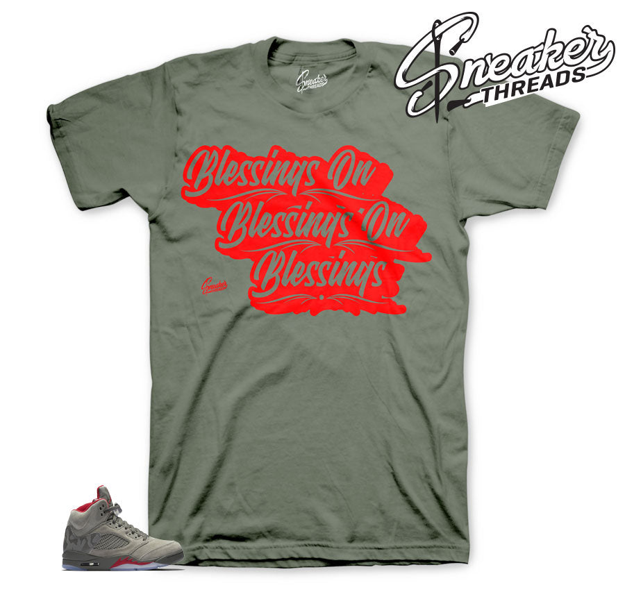 Jordan 5 camo shirts match retro 5 dark stucco tees.