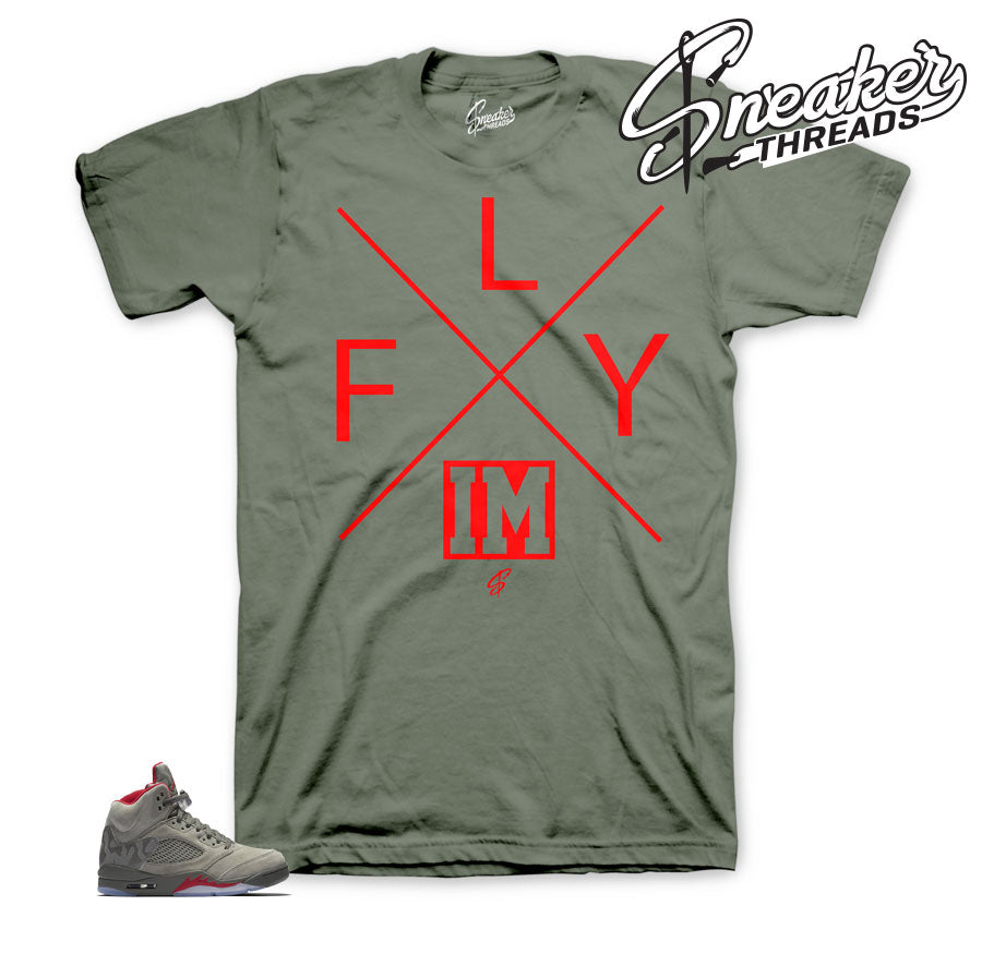 Jordan 5 camo take flight tee shirt match retro 5.