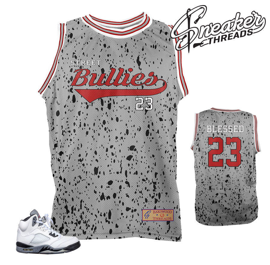 Jersey match Jordan 5 cement shoes | Cement 5 basketball jersey
