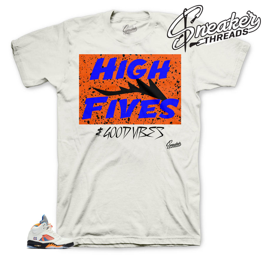 Sneaker tees match Jordan 5 international flight barcelona shoes.