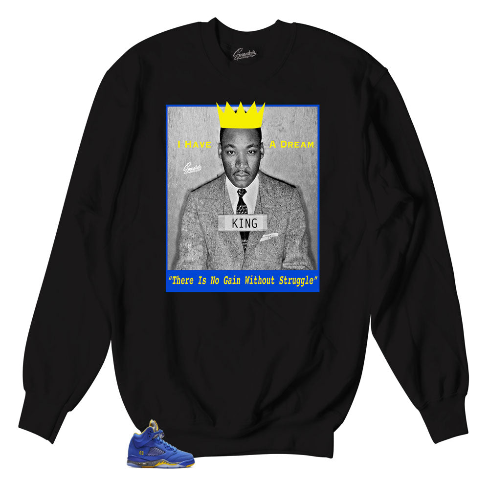 Varsity royal Jordan 5 sneaker sweaters match retro 5s shoes.