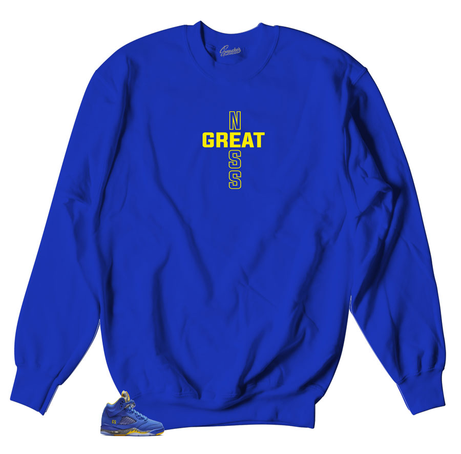 crewneck sweaters matches Jordan 5 retro reverse Laney sneaker collections