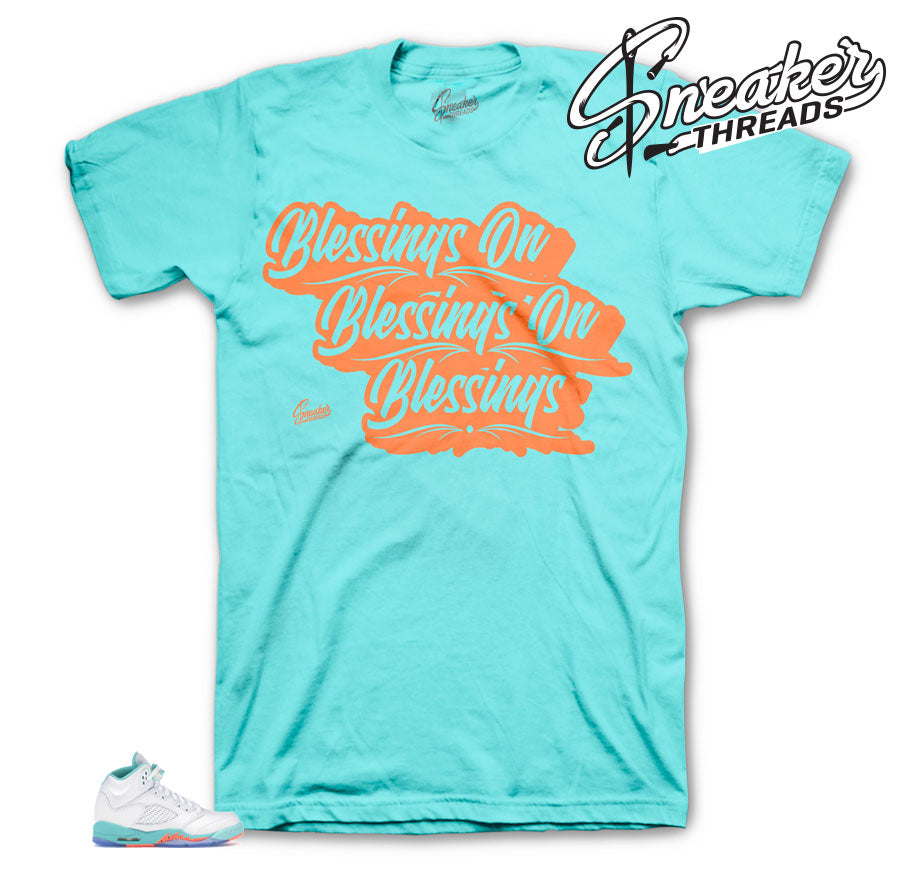 Jordan 5 Light Aqua Blessings matching tee