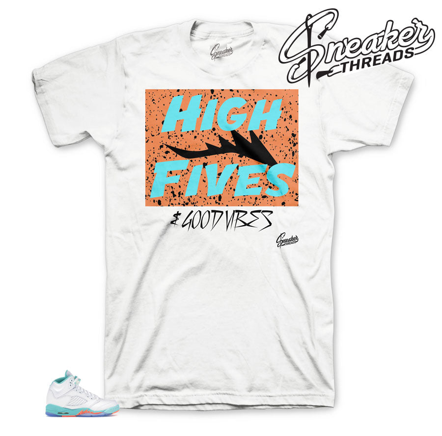 High Fives Tee to match Light Aqua 5's