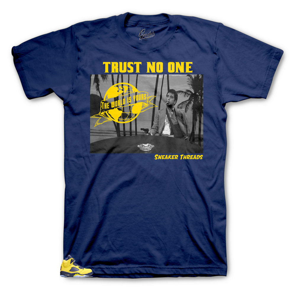 Jordan 5 sneaker Michigan collection has matching shirts designed to match the Michigan Jordan 5 sneakers