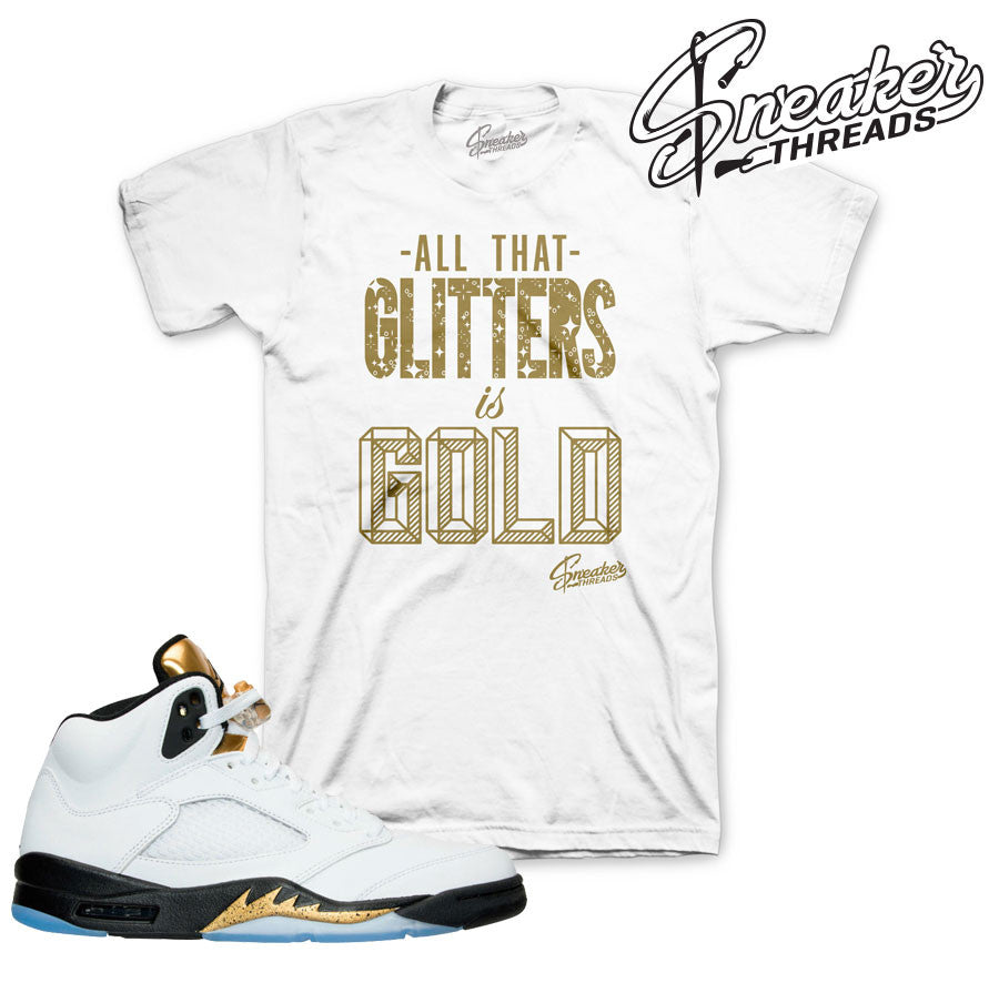 Jordan 5 olympic gold tees match retro 5 olympic sneaker tees.