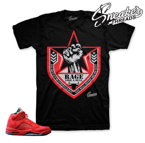 Red suede Jordan 5 shirt match retro 5's sneaker tees.
