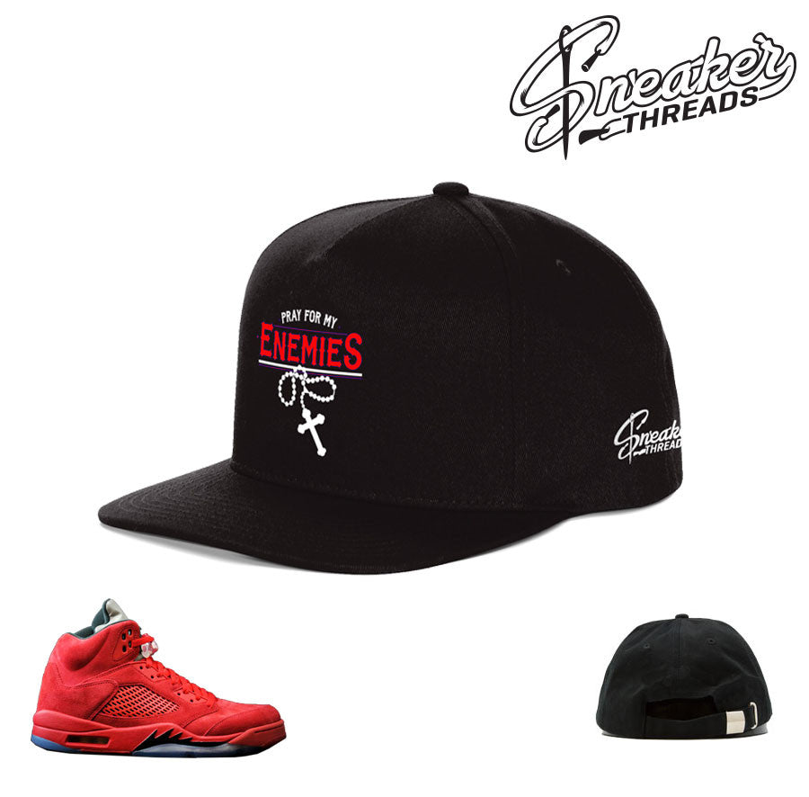 Jordan 5 red suede hat match retro 5's sneaker hats.