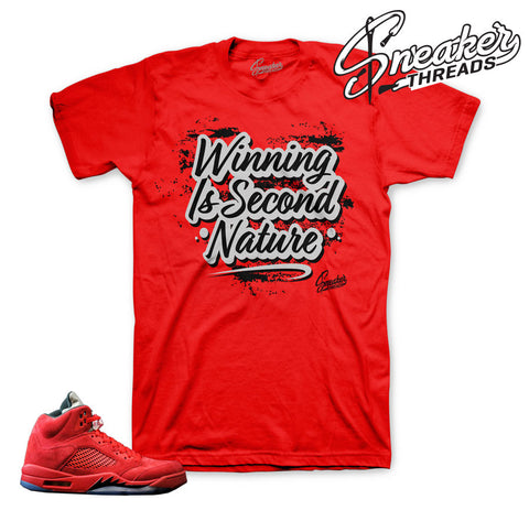 Jordan 5 red suede official matching tees shirts.
