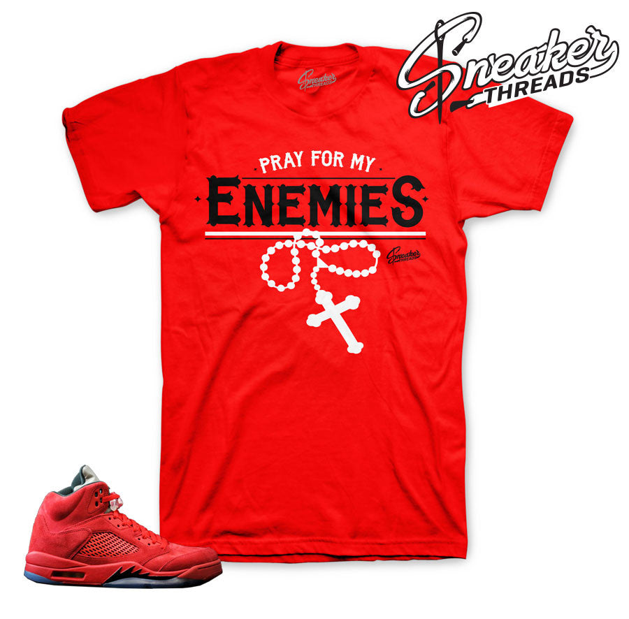 Jordan 5 red suede tees match retro 5's fire red shirts.