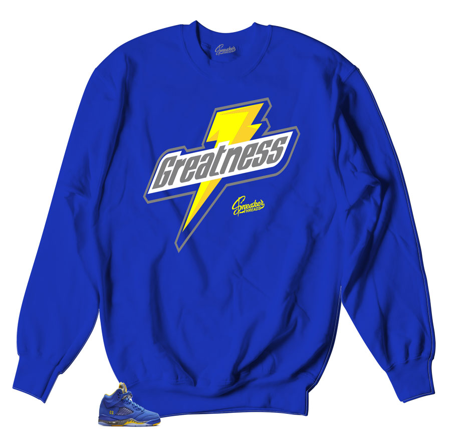 Sweater collection matches Jordan 5 reverse retro Laney sneaker collection