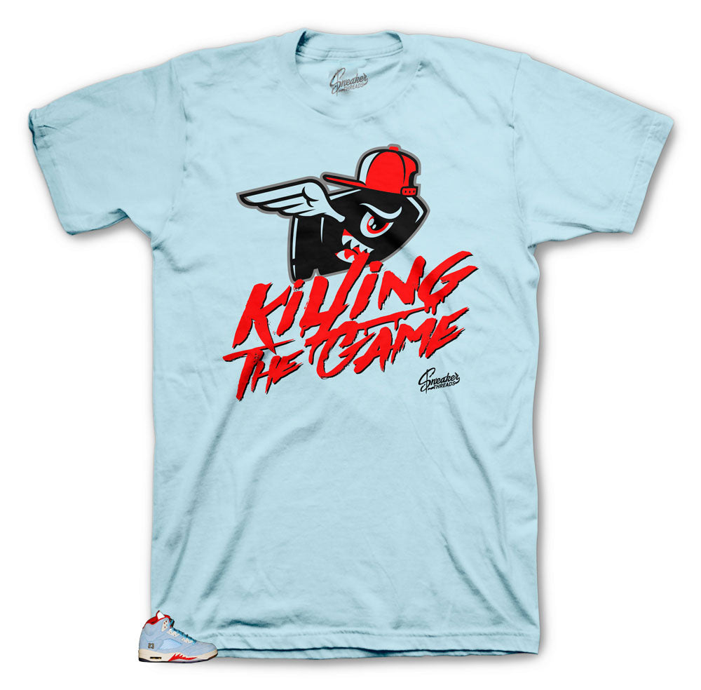 Jordan 5 Ice Blue sneaker has matching tee made to match the Jordan 5 ice blue collection