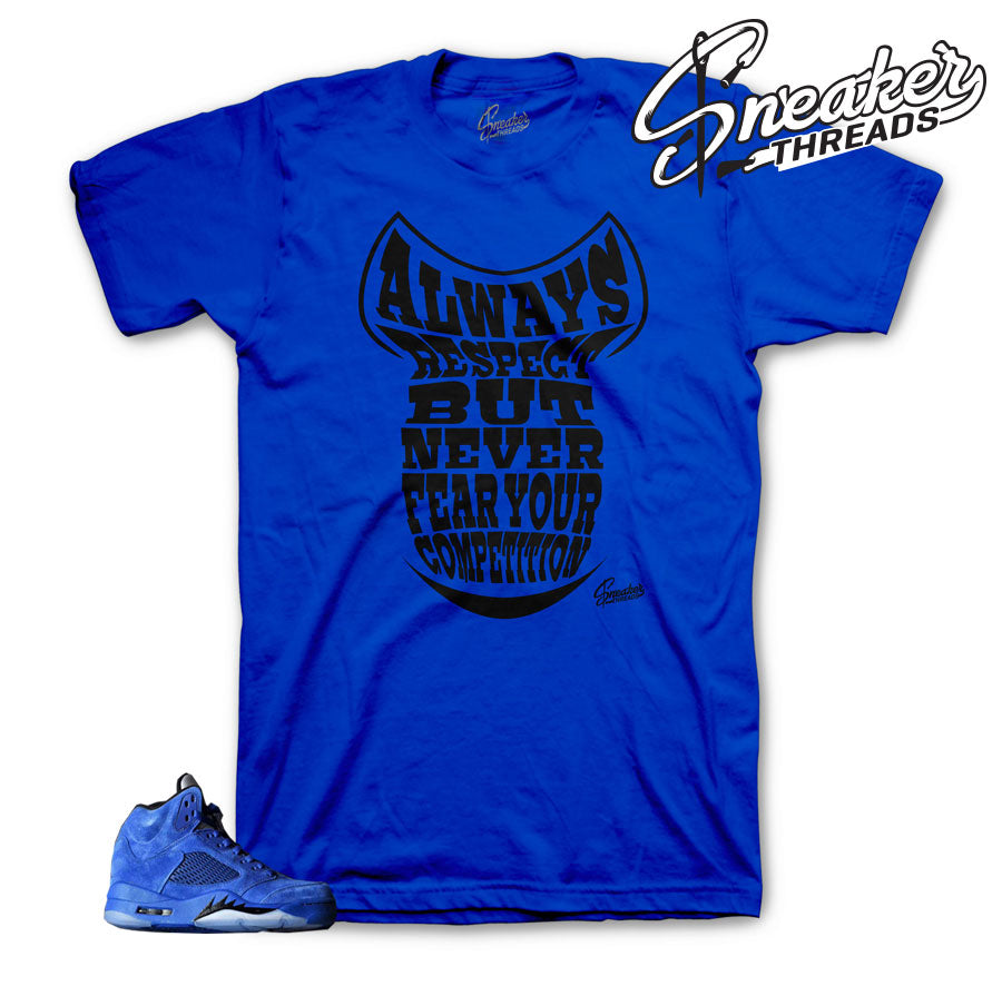 Clothing to match Jordan retro 5 blue suede sneakers.